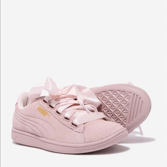 b26459ef47fb New Puma Pink Ribbon Suede Sneakers Soft foam